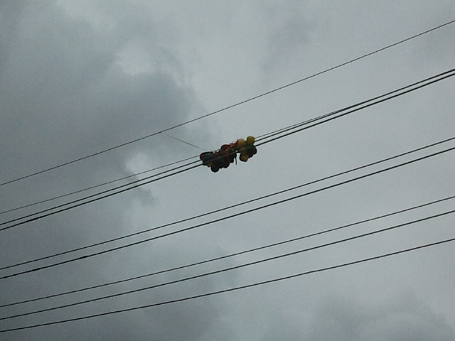 Balloons Caught In Overhead Electrical Wires